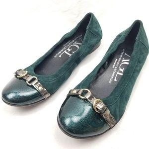 Agl Cap Toe Ballet Flat Green Suede
